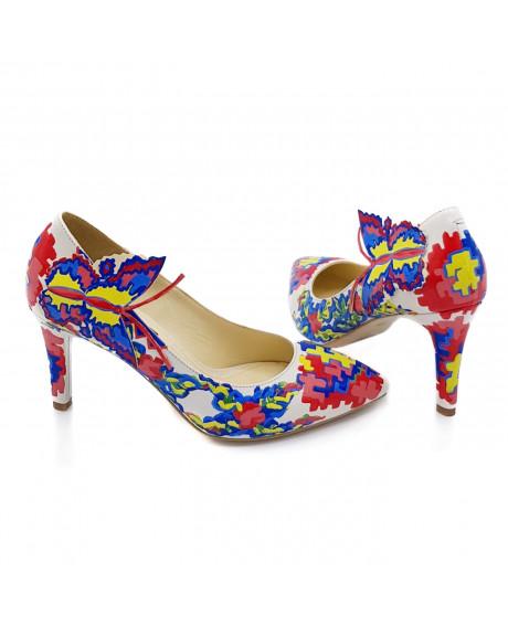 Pantofi piele Livia pictati manual Model Traditional L13 - sau Orice Culoare