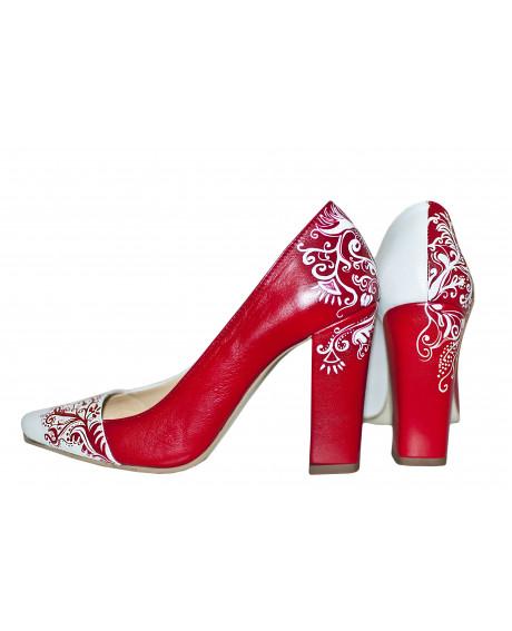 Pantofi pictati manual Red Stiletto - sau Orice Culoare